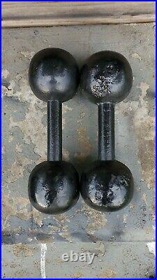 Pair of Antique 13 Lb Cast Iron Globe Cannon Ball Circus Style Dumbbells vintage