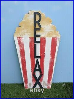 Popcorn Sign RELAX Shabby Vintage Style prop party circus Showman movie film C1