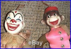 RARE Antique Set Composition Cloth Monkey & Clown Head Doll 16 Tall Circus