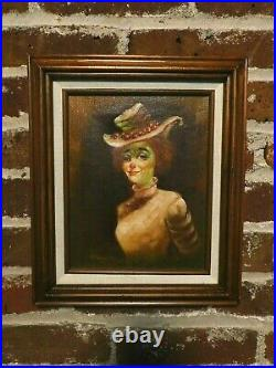 RARE FEMALE CLOWN BY HOPPIN/ OIL ON CANVAS SIGNED 12x14/ CIRCUS