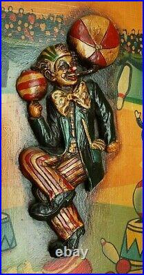 RARE Vintage CIRCUS THEME Wooden Wall Hanging with Hand Painted Clown In Relief