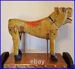 RARE! Vintage Jaguar Latin American Folk Art Carousel Circus Animal Kiddie Ride