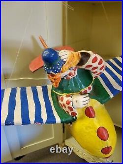 RARE Vintage Oskar Raoul paper mache hanging Clown in large plane 1970s Art