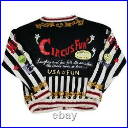 RARE vintage 80s Absolutely NO! Jeans circus clown cardigan