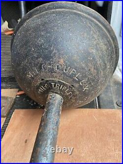 Rare 1908 antique Dumbell weight gym display Milo Duplex circus strongman Steel