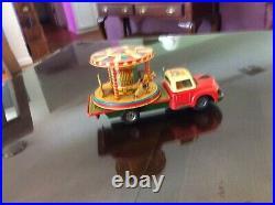 Rare 1955 Antique Tn Nomura Tin Toy Litho Clown Circus Truck Carousel Friction