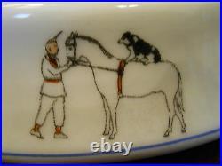 Rare Antique 1929 Child's Porcelain Bowl Baby Dish Circus Bears Pig Dog Camel