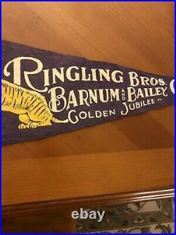 Rare Antique 1933 Ringling Bros. Barnum & Bailey Circus Golden Jubilee Pennant