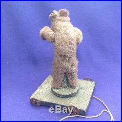 Rare Antique German Platform Pull Toy Circus Teddy Bear Mechanical Automaton