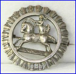 Rare Antique Silver On Brass Circus Trick Stunt Horse Riding Pin
