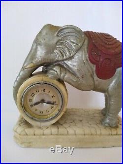 Rare Antique Vintage Marblesque Lux Circus Elephant Figural Shelf Mantle Clock