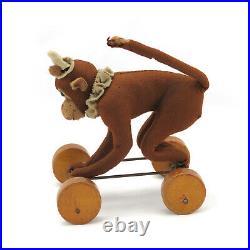 Rare Early STEIFF Felt Circus Monkey on Wheels Pull Toy c. 1913