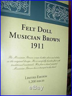 STEIFF Musician withTrombone 1911 replica L'td. Ed. MIB doll withCOA button-in-ear