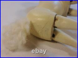 Schoenhut Humpty Dumpty CIRCUS POODLE White Dog & Painted PEDESTAL Stool Antique