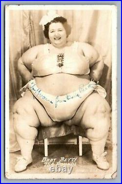 Signed! Sideshow Baby Betty Circus Fat Lady Antique Real Photo Postcard Rppc