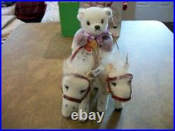 Steiff Golden Age Circus Bear Back Rider W Horses Set Mohair Plush LE 5000 Boxed