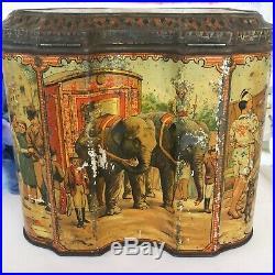 Stunning Antique Showman Biscuit Tin Litho Box, Punch & Judy Circus Fair RARE