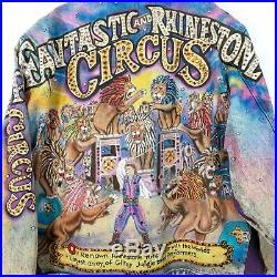 Tony Alamo Designs Vintage Fantastic & Rhinestone Circus Denim Jacket Size M
