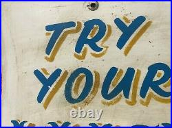 Try Your Luck Antique Vintage Circus Fairground Funfair Shield Shaped Sign