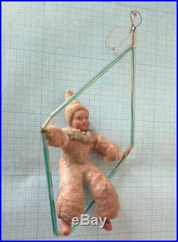 UNIQUE Antique Baby Clown Circus spun cotton Christmas Ornament tree 1930-40s
