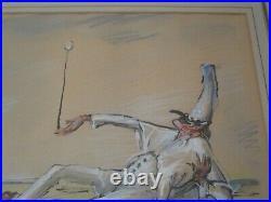 Umberto Brunelleschi Painting Rare Antique Jester Signed Listed Art Deco Artist