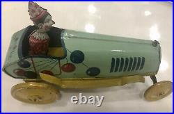 Unique Art Tin Toy Krazy Kar Clown 1920 Antique Car Wind-Up Windup Circus