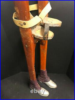 VERY RARE COLLECTIBLE ANTIQUE SET OF WOODEN CIRCUS STILTS Silver shoes