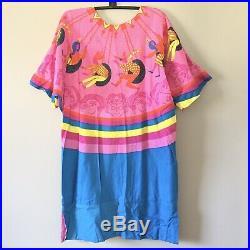 VTG BASILA 1960s Psychedelic Circus Ride Dress Bohemian Boho Casual M/L