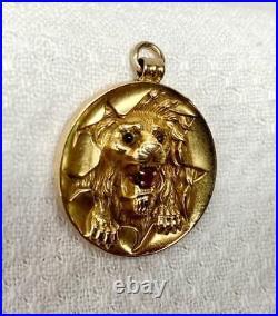 Victorian Lion Pendant Ruby 14 Karat Gold Circus Hoop Panther Leopard Tiger