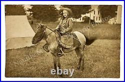 Vintage 1910s Wild West Costume Circus Girl Horseback Photo RPPC