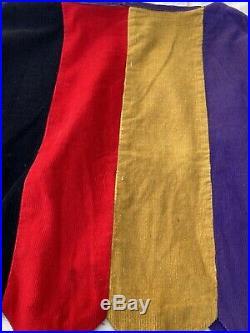Vintage 1930s 1940s Corduroy Color Block Blouse Shirt Top Sawtooth Hem Circus