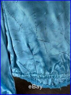 Vintage 1930s Blue Satin Balloon Sleeve Blouse Deco Print Dress Top Shirt Circus