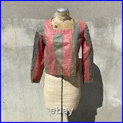 Vintage 1930s Pink & Green Striped Cotton Blouse Top Circus Tent Long Sleeve
