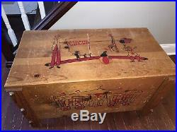 Vintage 1950s Antique Wooden Toy Chest Circus Clowns Collectibles