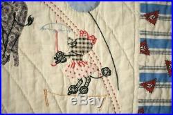 Vintage 40's Circus Animal Applique Antique Crib Quilt AMAZING DETAIL