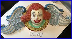 Vintage Antique Plaster Circus Carnival Big Top Clown Head Wall Mount