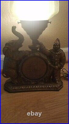 Vintage Art Deco Figural Table Lamp With Clown & Elephant Circus Scene