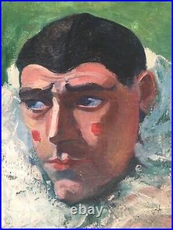 Vintage Christine Shelton Josselyn Clown Harlequin Painting Art Deco c. 1933