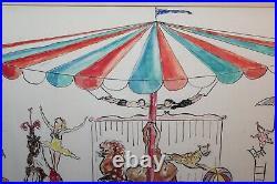 Vintage Circus Painting Big Top Elephants Trapeze Penguins Seals Lions Clowns