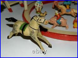 Vintage Circus Toy Antique Hand Painted Clowns Horses Elastolin Germany 1930