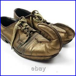 Vintage Clown / Circus Shoes Antique Gold Painted Leather Curled Toe