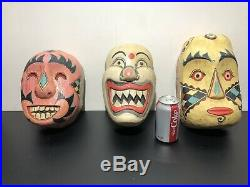 Vintage Hand Carved and Painted Wood Clown Mask masks Evil Scary Circus Antique