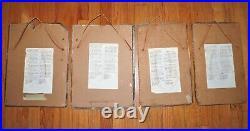 Vintage Lot of 4 SAD HOBO CLOWN PORTRAIT SLATE PAINTINGS Laiche Emmett Kelly Art