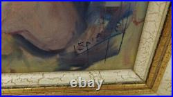 Vintage Louis Spiegel Signed Painting Oil Canvas Clown Collectible Creepy Rare
