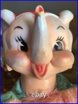 Vintage My Toy Rubber Face Circus Elephant Plush Toy 1950s Rushton Pink Teal