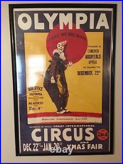 Vintage Olympia Circus Poster Print Bertram W Mills Christmas Clown Poster