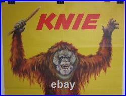 Vintage Original 1960s KNIE CIRCUS Orangutan Swiss 36x50 Poster FREE SHIPPING