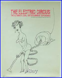 Vintage Original Electric Circus NYC Night Club Tomi Ungerer 1969 Art Poster