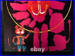 Vintage Pop Art Cyrk Pink Lion Circus Poster Print