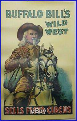 Vintage Poster Buffalo Bill's Wild West Sells Floto Circus Erie Litho